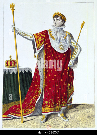 Coronation of Napoleon I, 2 December 1804. Napoleon in his coronation robes. Hand-coloured engraving. - Stock-Bilder
