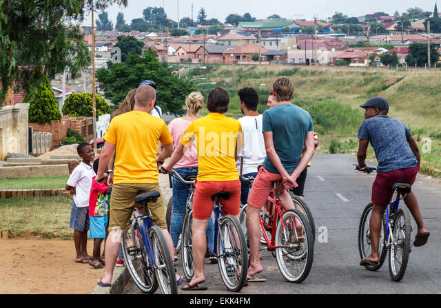 South Africa African Johannesburg Soweto bicycle bike riders Black man - Stock Image