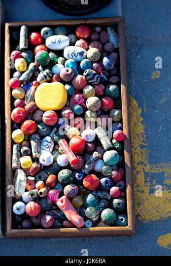Beading and stones on Chinese Market - Stock Image