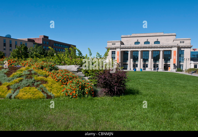 Athena park and Jean Talon old train station in Montreal Park extension area  Quebec Canada - Stock Image