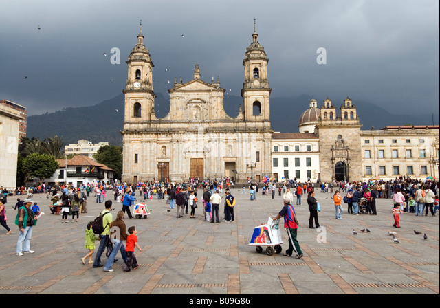 Primary Cathedral on the Plaza de Bolivar, Bogota, Colombia - Stock Image