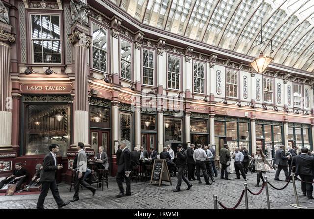 Leadenhall Market, Lamp Tavern Pub, London , UK - Stock Image