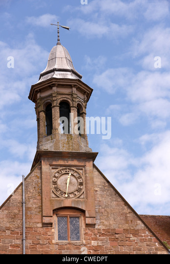 Clock and bell tower, Rufford Abbey, Ollerton, Nottinghamshire, England, UK - Stock Image
