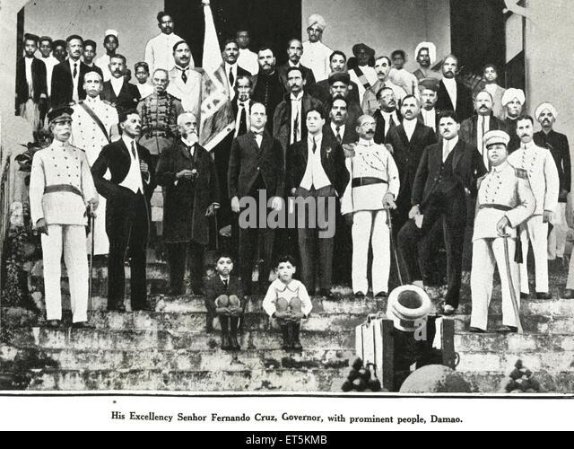 His Excellency Senhor Fernando Cruz ; Governor with prominent people ; Damao ; India NO MR - Stock Image
