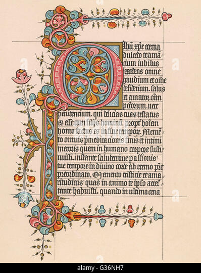 An illustrated page from a Book of Hours, written in Latin.           Date: 15th century - Stock Image