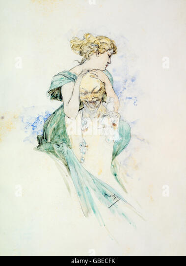 Woman and bust by Alfons Mucha, 19th / 20th century - Stock Image