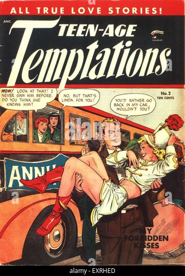 1950s USA Teen-Age Temptations Magazine Cover - Stock Image