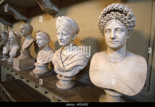 Vatican City Galleria Chiaramonti marble busts common people - Stock Image