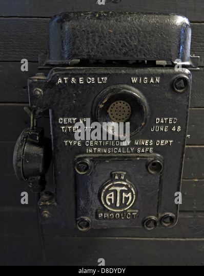 Miners black Safety Telephone AT&E Wigan Certified for National coalboard use - Stock Image