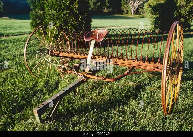 Antique Hay Rake Parts : Antique old farm equipment stock photos