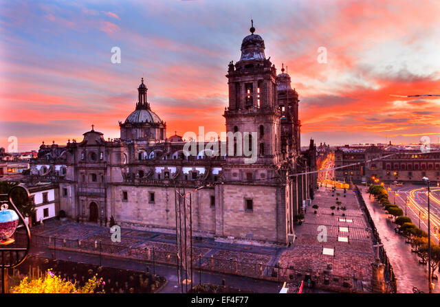 Metropolitan Cathedral and President's Palace in Zocalo, Center of Mexico City Mexico Sunrise - Stock Image