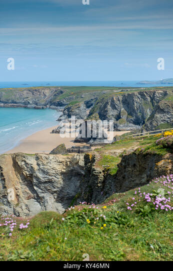 Aerial view of Bedruthan Steps in Cornwall, England, UK - Stock Image