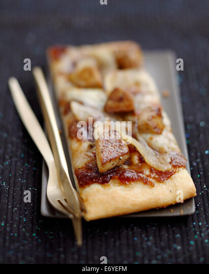 Foie gras pizza - Stock Image