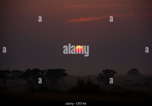 Sunrise over Queen Elisabeth National Park, West Uganda, Africa - Stock Image