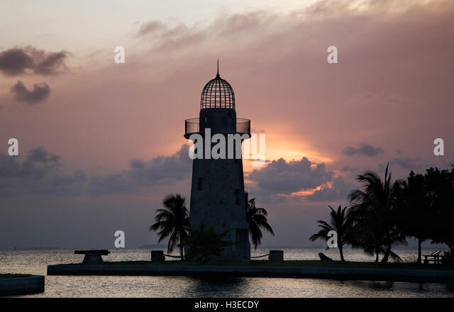 The charming Boca Chita Lighthouse built by Mark Honeywell of Miami Oolitic Limestone reminds us of a bygone era. - Stock Image