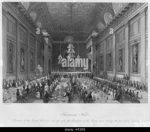 'Freemason's Hall', c1841. Artist: Henry Melville. - Stock Image