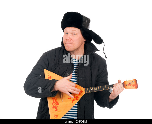 Russian man with balalaika - Stock Image