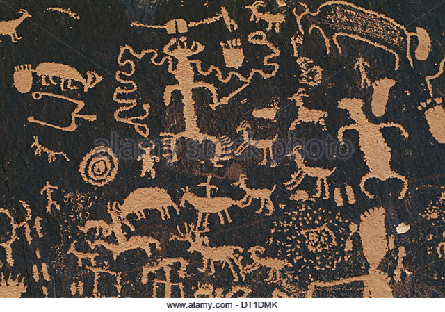 Newspaper Rock State Historic Park Utah USA pueblo rock art Newspaper Rock Historic Park - Stock Image
