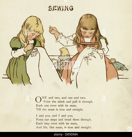 Two Girls Sewing - Stock Image