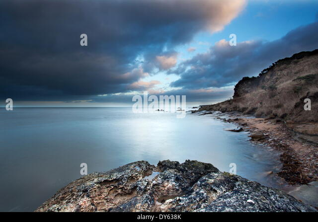 Fife coast at dusk near St. Andrews, Fife, Scotland, United Kingdom, Europe - Stock Image