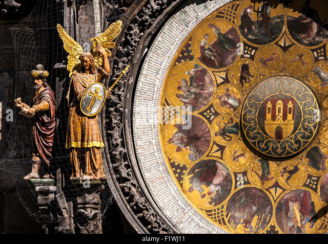 Detail of the Astronomical Clock calendar plate, the Old Town City Hall, Prague, Czech Republic. - Stock Image