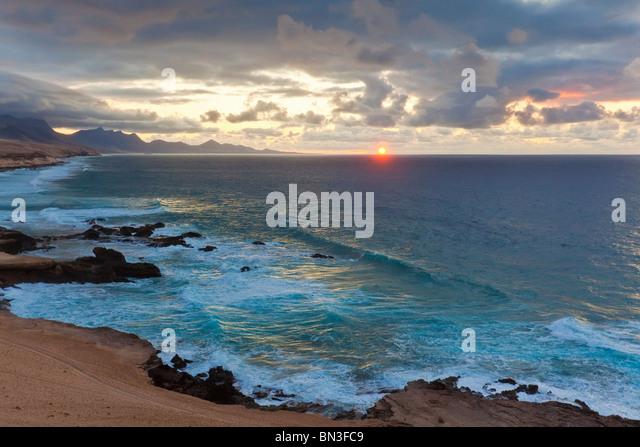 Coast of Costa Calma at sunset, Fuerteventura, Spain - Stock Image
