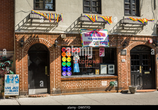 Famed gay bar The Stonewall Inn, Greenwich Village, New York City - Stock Image