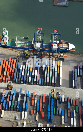 Container Ship in Tilbury Docks, South East England, UK - Stock Image