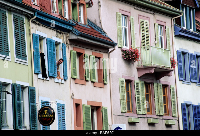 France, Doubs, Montbeliard, Rue Clemenceau colourful facades - Stock Image
