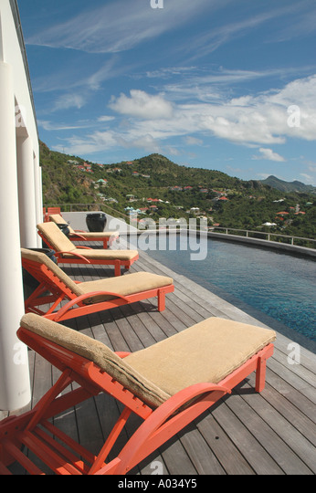 Saint St Barths luxury villa swimming pool - Stock Image