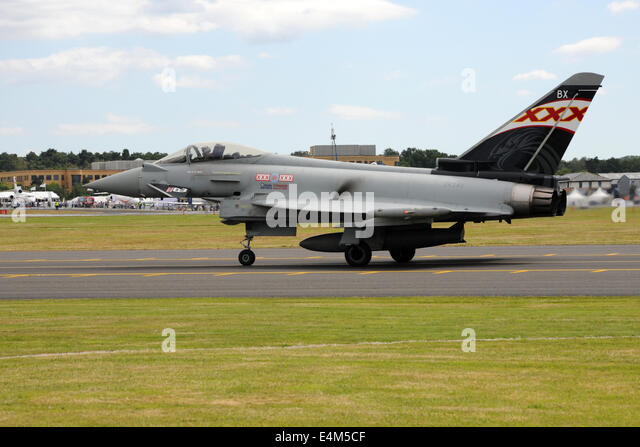 Farnborough, UK. 14th July, 2014. A Royal Air Force Typhoon fighter jet taxiing before an air display at the Farnborough - Stock Image