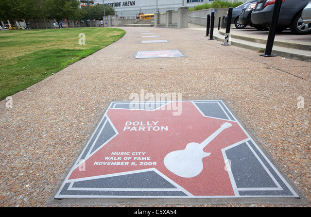 dolly parton star on the music city walk of fame Nashville music gardenTennessee USA - Stock Image