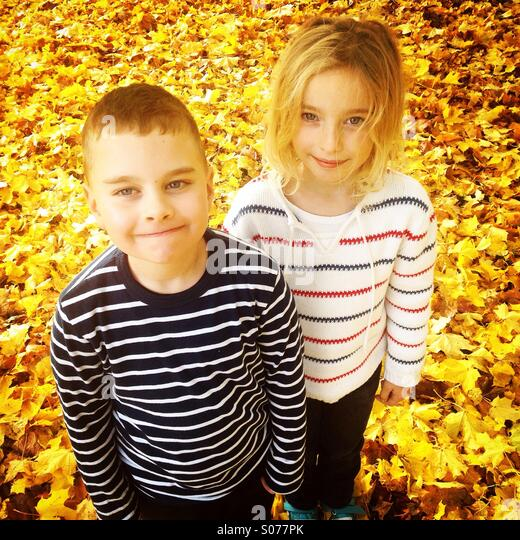 A cute brother and sister in a field of golden yellow autumn fall leaves - Stock Image