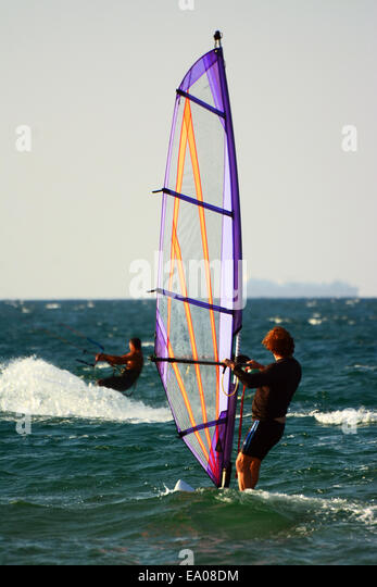 Wind Surfing in the Mediterranean sea - Stock Image