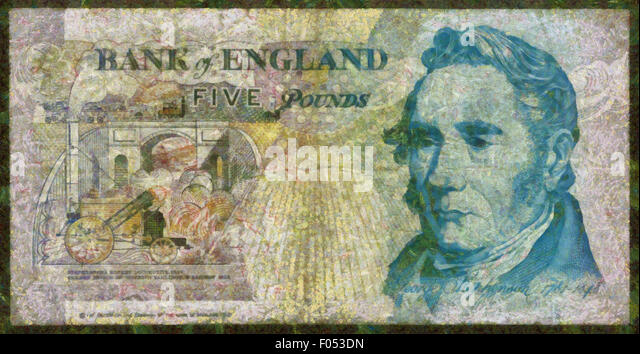Illustrations Banknote,Currency, five pound, England,1990,George Stephenson - Stock Image
