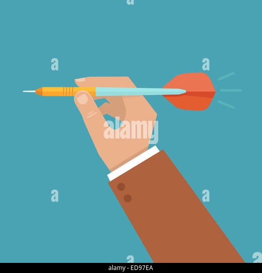 Hand holding dart - aiming at the business target - illustration in flat style - Stock Image