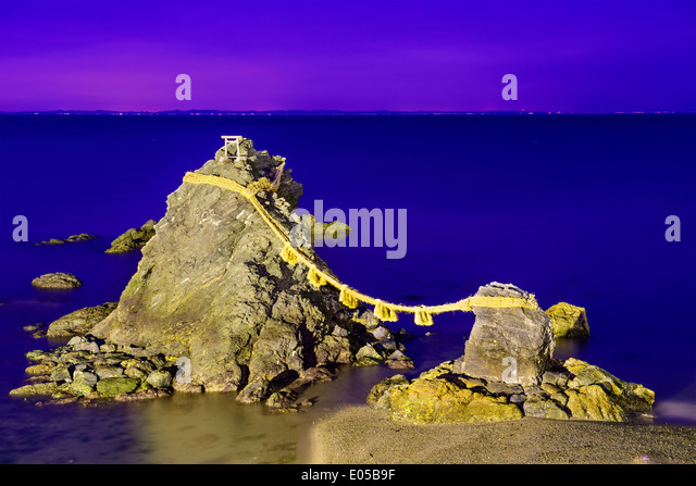 Meoto Iwa Rocks in Futami, Ise, Japan. - Stock Image