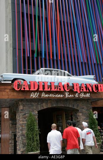 Ohio Cincinnati Cadillac Ranch All American Bar and Grill entrance 1959 classic car - Stock Image