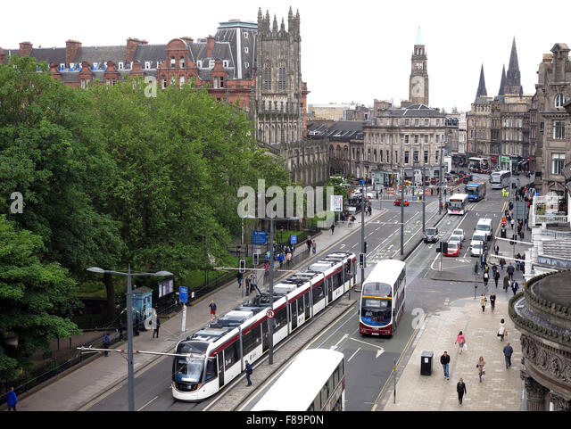 West End of Princes St with trams/buses, summer 2015,Edinburgh,Scotland,UK - Stock Image