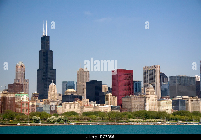 Skyline of Chicago Illinois USA  - Stock Image