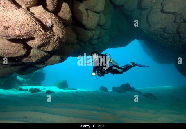 Diver in Underwater Cave at Punta Cana, Dominican Republic, Caribbean, America - Stock Image