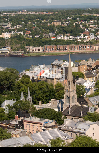 Aerial of quebec city, canada, historic district showing traditional French architecture and the St. Lawrence River, - Stock Image