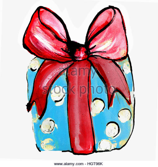 Christmas present wrapped with big red bow - Stock-Bilder