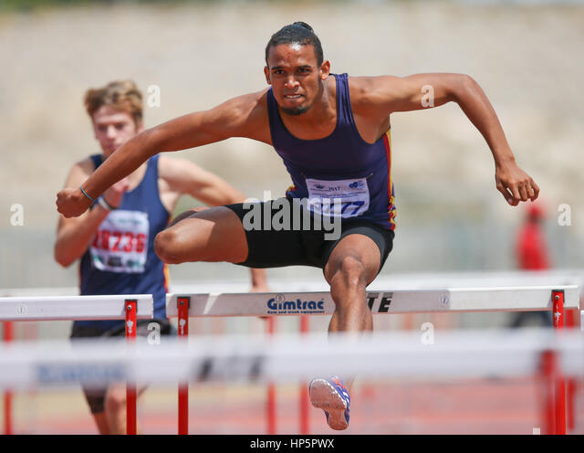 Cape Town, South Africa. 18th February, 2017. Darren Riddles of Bellville Athletics Club wins the mens 110m hurdles - Stock-Bilder