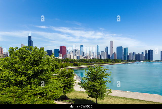 The city skyline from the Museum Campus in Grant Park, Chicago, Illinois, USA - Stock Image