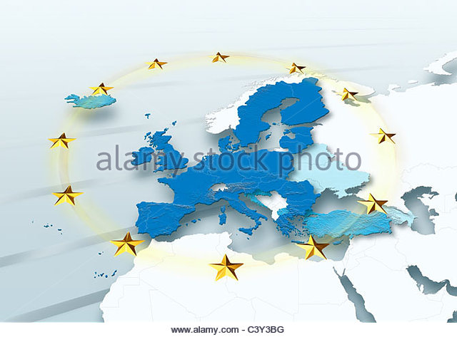 map, Western Europe, European Union, political, physical, EU Stars - Stock Image