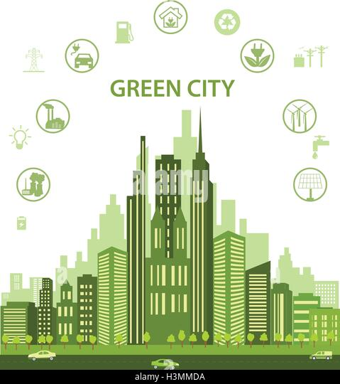 Green city concept with different icons and eco symbols. Modern city design with future technology for living. - Stock Image