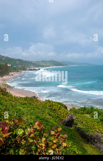 View of the Scotland District from fishing village of Bathsheba on Atlantic east coast of Barbados. - Stock Image