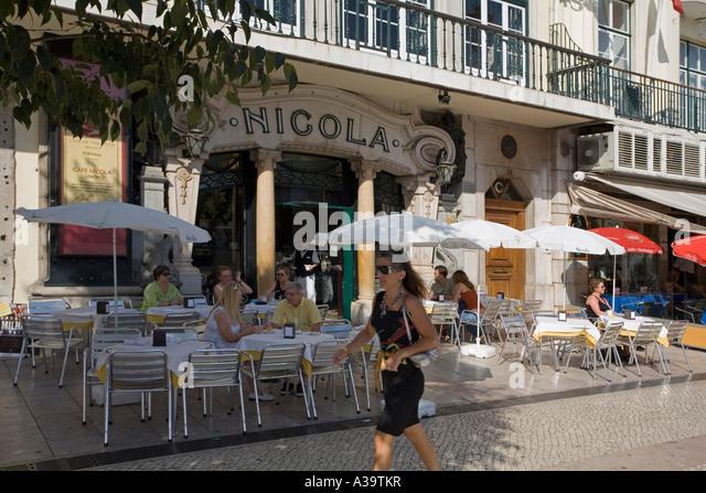Portugal Lisbon Portugal Lisbon Rossio Cafe Nicola at Rossio sqaure Lissabon Cafe Nicola am Rossio Platz - Stock Image