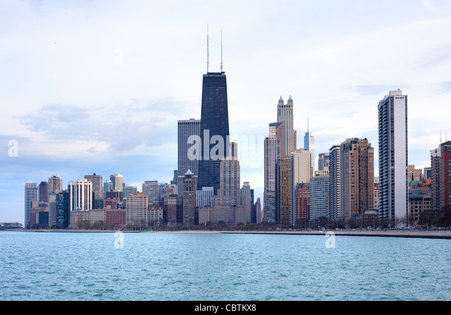 Downtown skyline, Chicago, Illinois, USA - Stock Image